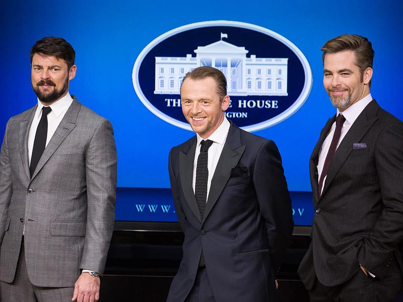 Michelle Obama Screens New Star Trek Movie – and Ogles 'Handsome' Stars – with Military Families| politics, Star Trek, Movie News, Chris Pine, Karl Urban, Michelle Obama, Military and Soldiers, Simon Pegg