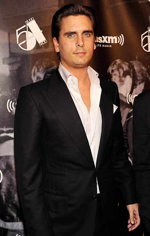 """""""Keeping Up With the Kardashians"""" star Scott Disick -- who's always looking for an excuse to wear a suit -- buttoned up in black and white.  (October 18, 2011)"""