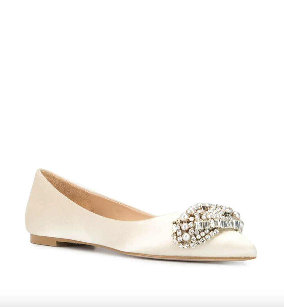 Badgley Mischka 'Octavia' Satin Ballerina Flats (Photo via Farfetch)