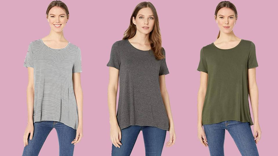 Reviewers say this Amazon Essentials tee is all they want to wear. (Photo: Amazon)
