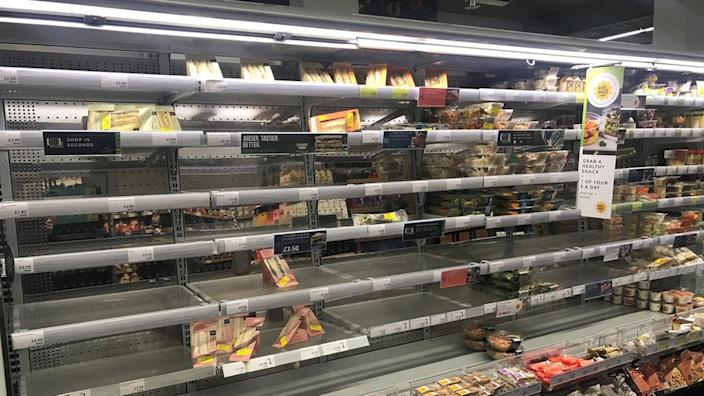 Empty shelves at Belfast Marks and Spencer on Monday