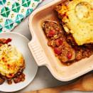 """<p>Moussaka is one of our favourite Greek dishes. It's an <a href=""""https://www.delish.com/uk/cooking/recipes/g28961707/aubergine-recipes/"""" rel=""""nofollow noopener"""" target=""""_blank"""" data-ylk=""""slk:aubergine"""" class=""""link rapid-noclick-resp"""">aubergine</a> based dish that is traditionally made with beef. Here we swapped the meat with lentils to make this an even heartier vegetarian dish. It has a creamy bechamel sauce that goes on top that makes this dish the comfort food that it is. </p><p>Get the <a href=""""https://www.delish.com/uk/cooking/recipes/a33989947/vegetarian-moussaka-recipe/"""" rel=""""nofollow noopener"""" target=""""_blank"""" data-ylk=""""slk:Vegetarian Moussaka"""" class=""""link rapid-noclick-resp"""">Vegetarian Moussaka</a> recipe.</p>"""