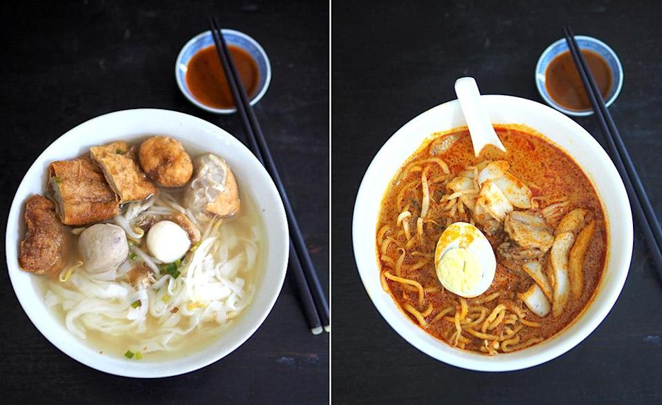 If you prefer a cleaner-tasting bowl, zoom in on their Kampar noodles that serves an assortment of fish balls including Kampar specialties like fried fish balls, bean curd and 'fuchuk' filled with fish paste (left). The curry mee served here is topped with delicious fried pork slices (right).