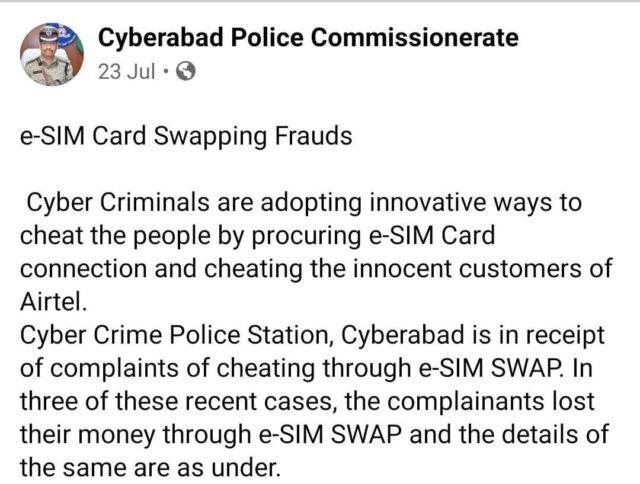 Cyberabad Police informed the general public about e-SIM Swapping Frauds