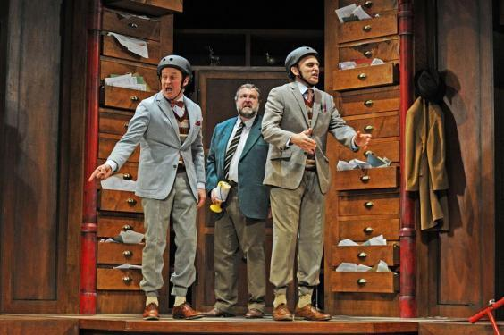 Andy Cryer, Howard Chadwick and Kraig Thornber in 'The Government Inspector' at the Young Vic, 2012