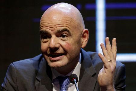 FILE PHOTO: FIFA President Gianni Infantino speaks during news conference at CONMEBOL headquarters in Luque, Paraguay May 11, 2018. REUTERS/Jorge Adorno/File Photo