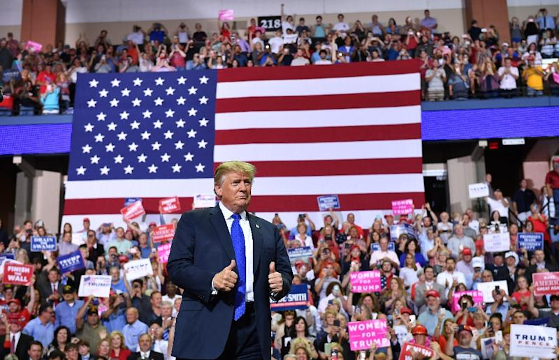 """""""2020 is looking really easy,"""" Donald Trump quipped as he opened his speech inSouthaven, Mississippi (AFP Photo/MANDEL NGAN)"""