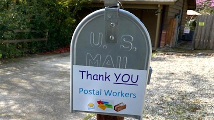 A sign taped to a mailbox in Loomis, Calif. (Photo: Julia Kimmel)