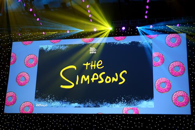 ANAHEIM, CALIFORNIA - AUGUST 24: A view of the screen at The Simpsons! panel during the 2019 D23 Expo at Anaheim Convention Center on August 24, 2019 in Anaheim, California. (Photo by Angela Papuga/Getty Images)