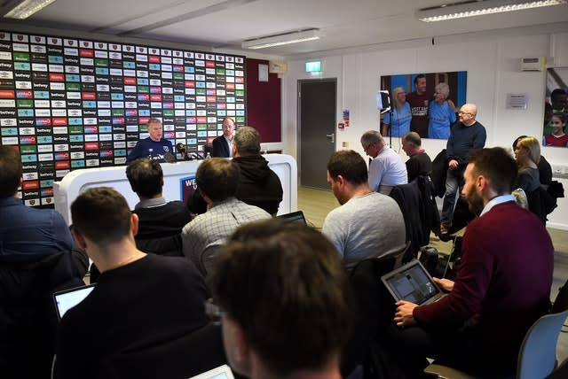 New West Ham United manager David Moyes during the press conference at Rush Green Training Ground (Kirsty O'Connor/PA)