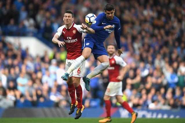 """<a class=""""link rapid-noclick-resp"""" href=""""/soccer/players/laurent-koscielny/"""" data-ylk=""""slk:Laurent Koscielny"""">Laurent Koscielny</a> and <a class=""""link rapid-noclick-resp"""" href=""""/soccer/teams/arsenal/"""" data-ylk=""""slk:Arsenal"""">Arsenal</a> stifled Alvaro Morata and <a class=""""link rapid-noclick-resp"""" href=""""/soccer/teams/chelsea/"""" data-ylk=""""slk:Chelsea"""">Chelsea</a>, and came away with a welcome point. (Getty)"""