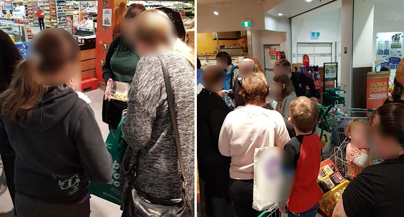 Parents and children shown swapping Ooshies at Woolworths on Saturday as part of a national event.