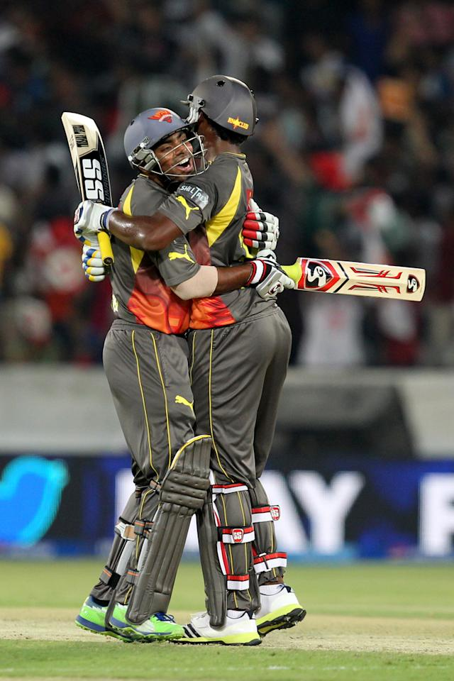 Ashish Reddy celebrates victory in  match 25 of the Pepsi Indian Premier League between The Sunrisers Hyderabad and The Kings XI Punjab held at the Rajiv Gandhi International  Stadium, Hyderabad  on the 19th April 2013. (BCCI)