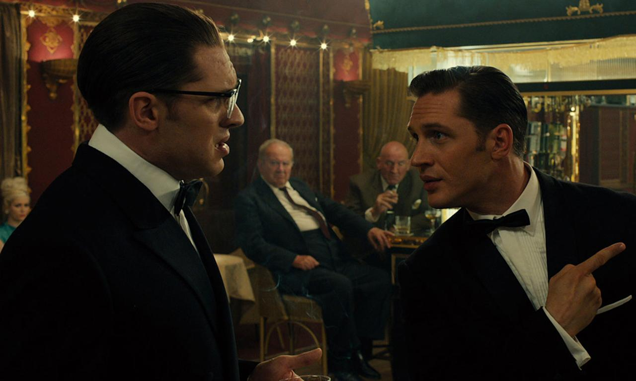 <p>This vibrant biographical look at the life of The Krays veers perilously close to panto, but Tom Hardy puts in a bravura turn as both Ronnie and Reggie that is nothing short of astonishing. </p>