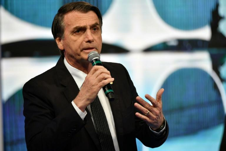 Brazilian presidential candidate Jair Bolsonaro (PSL), speaks during the second presidential debate ahead of the October 7 general election, at Rede TV television network in Sao Paulo, Brazil, on August 17, 2018