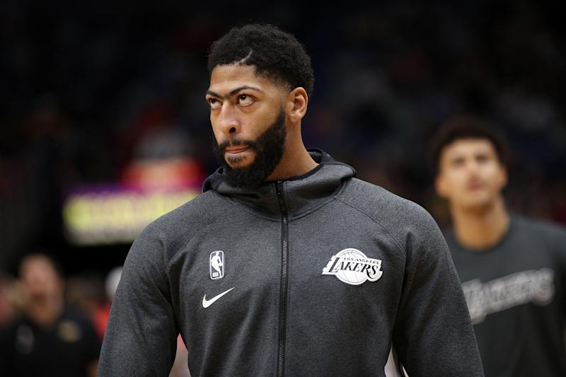 NEW ORLEANS, LOUISIANA - NOVEMBER 27: Anthony Davis #3 of the Los Angeles Lakers warms up prior to playing the New Orleans Pelicans at Smoothie King Center on November 27, 2019 in New Orleans, Louisiana. NOTE TO USER: User expressly acknowledges and agrees that, by downloading and/or using this photograph, user is consenting to the terms and conditions of the Getty Images License Agreement (Photo by Chris Graythen/Getty Images)