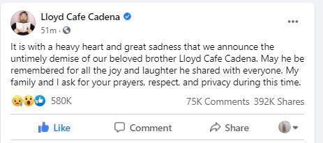 Post on Cadena's FB