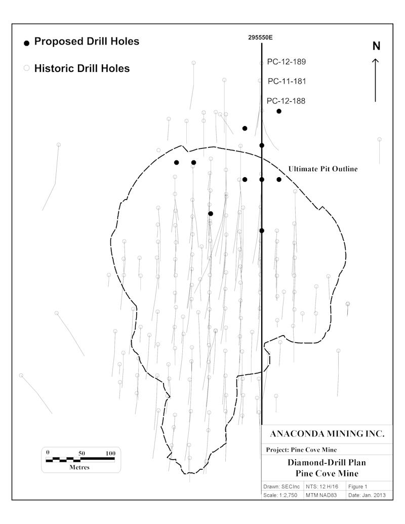 Anaconda Mining Initiates Diamond Drilling to Test Potential Down-Dip Extension of the Pine Cove Deposit
