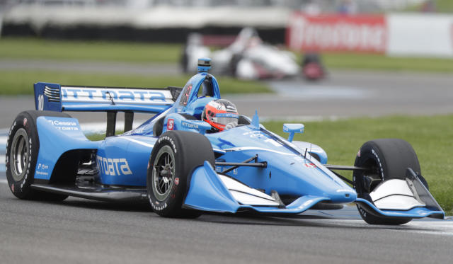Felix Rosenqvist, of Sweden, drives through a turn during practice for the Indy GP IndyCar auto race at Indianapolis Motor Speedway, Friday, May 10, 2019 in Indianapolis. (AP Photo/Michael Conroy)