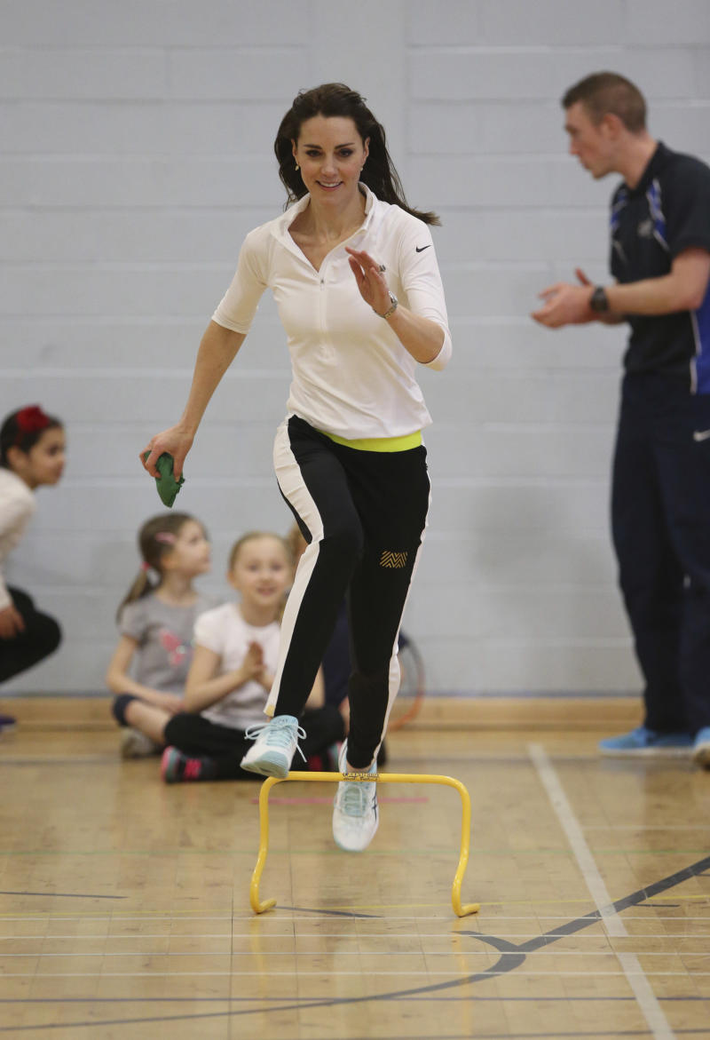 The Duchess of Cambridge takes part in a tennis workshop at Craigmount High School in Edinburgh, Scotland, Britain on Feb. 24, 2016.  (POOL New / Reuters)