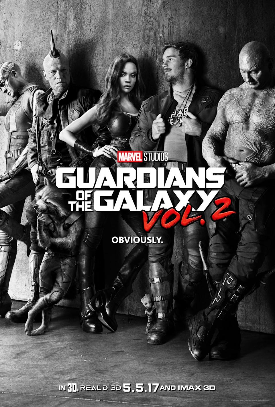 <p>Taking a cue from its subtitle, the first official poster looks like an album cover. Look hard for Baby Groot! (Photo: Marvel) </p>