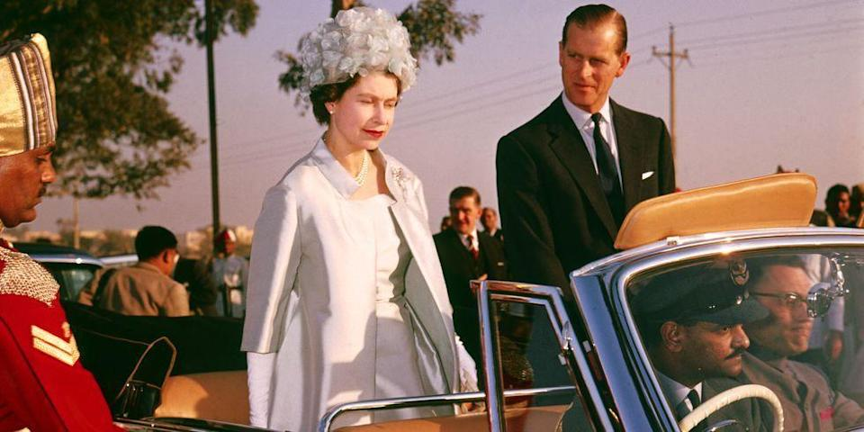 <p>Queen Elizabeth and Prince Philip ride together during a state visit to India in January of 1961. </p>