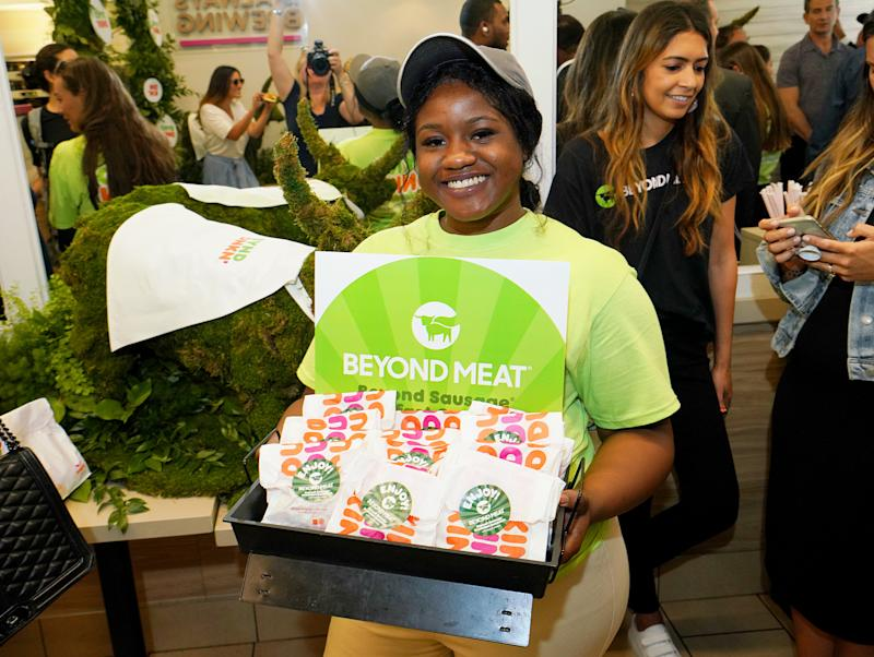 NEW YORK, NEW YORK - JULY 24: Beyond Sausage Breakfast Sandwiches are served during Dunkin' and Beyond Meat unveil Beyond Sausage Breakfast Sandwich at an event hosted by DeAndre Jordan of The Brooklyn Nets at Dunkin' Donuts on July 24, 2019 in New York City. (Photo by Jennifer Graylock/Getty Images for Dunkin' )