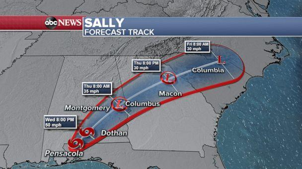 PHOTO: An ABC News weather map shows predictions for the Sally forecast track through Friday, Sept. 18, 2020. (ABC News)