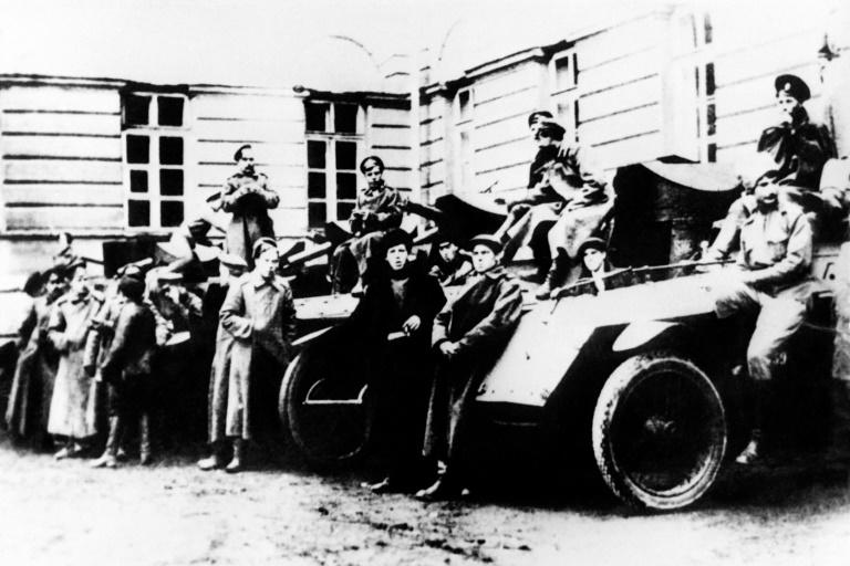 Picture dated November 1917 of Red Army armoured vehicules in Petrograd (now Saint Petersburg)