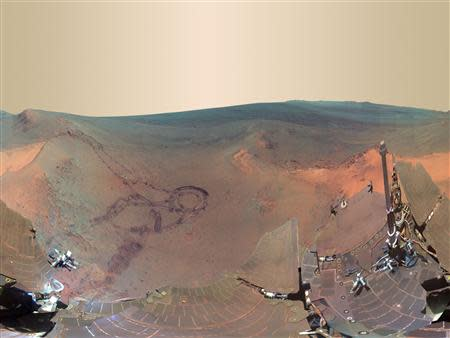 A 360-degree digitally-compressed panorama image of Mars from the Opportunity rover on Mars