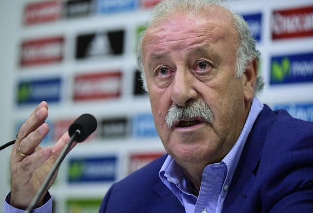 Spain's coach Vicente del Bosque speaks during a press conference at the Sport City grounds in Las Rozas, near Madrid on August 29, 2014 ahead of their opening 2016 European Championship qualifier against France on Spetember 4 at Stade de France (AFP Photo/Javier Soriano)