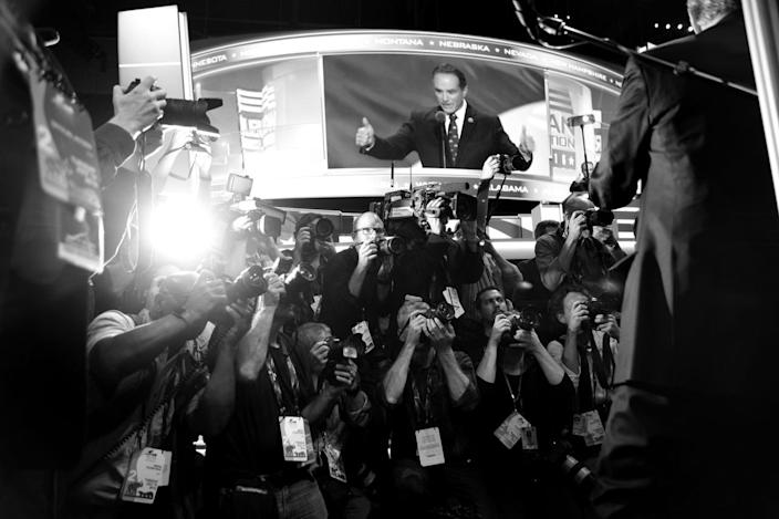 <p>The media in place in front of the New York delegation ahead of the formal casting of delegates during the RNC Convention in Cleveland, OH on July 19, 2016. (Photo: Khue Bui for Yahoo News)</p>