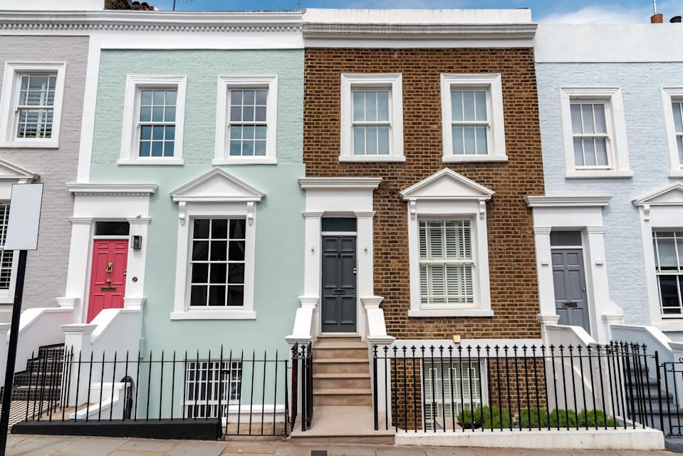 Colored row houses seen in Notting Hill, London
