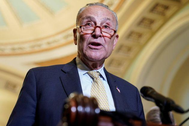 Senate Majority Leader Chuck Schumer (D-N.Y.) speaks after a Democratic policy luncheon on Capitol Hill in Washington, D.C., July 27. (Photo: Joshua Roberts via Reuters)