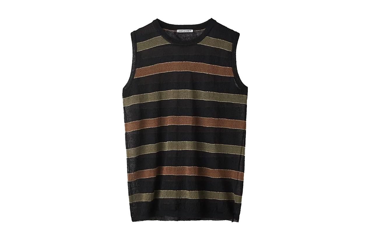 """$275, Our Legacy. <a href=""""https://www.ourlegacy.se/mens/new-arrivals/knitted-singlet"""">Get it now!</a>"""
