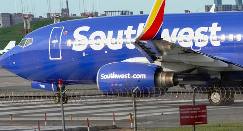 A Southwest Airlines plane at an airport.