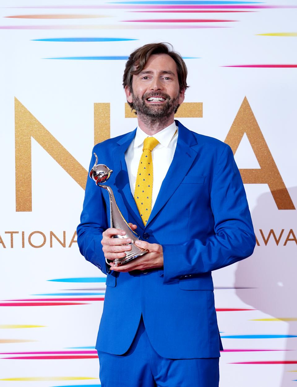 David Tennant in the press room after winning the Drama Performance award for his portrayal of Dennis Nielsen in Des at the National Television Awards 2021 held at the O2 Arena, London. Picture date: Thursday September 9, 2021.
