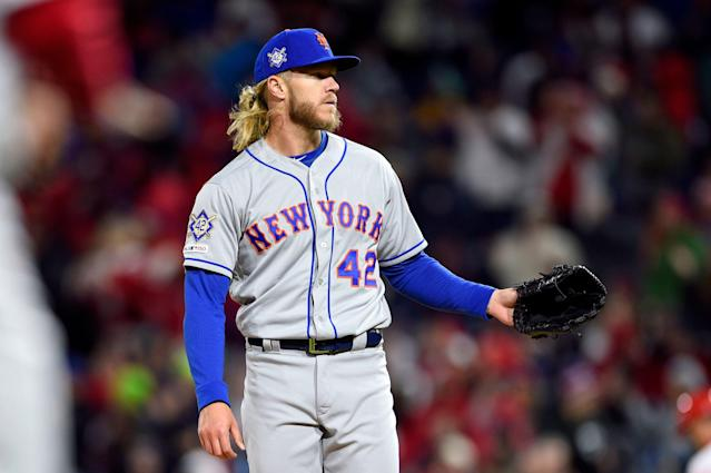 "New York Mets starting pitcher Noah Syndergaard in action during a baseball game against the <a class=""link rapid-noclick-resp"" href=""/mlb/teams/philadelphia/"" data-ylk=""slk:Philadelphia Phillies"">Philadelphia Phillies</a>, Monday, April 15, 2019, in Philadelphia. (AP Photo/Derik Hamilton)"