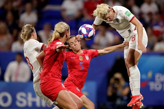 (L-R) Ellen White of England Women, Kelley O Hara of USA Women, Millie Bright of England Women during the World Cup Women match between England v USA at the Stade de Lyon on July 2, 2019 in Lyon, France. (Photo by Eric Verhoeven/Soccrates/Getty Images)