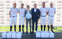 <p>Prince Harry, Duke of Sussex, Malcolm Borwick, Tom Holland, Andrew Doyle, JP Clarkin and Prince William, Duke of Cambridge, attend the Audi Polo Challenge at Coworth Park Polo Club on June 30, 2018 in Ascot, England.</p>