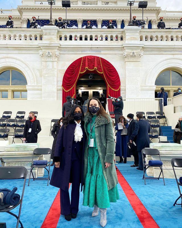 <p>Maya and Meena pose at the Capitol ahead of the Inauguration's official kickoff.</p>