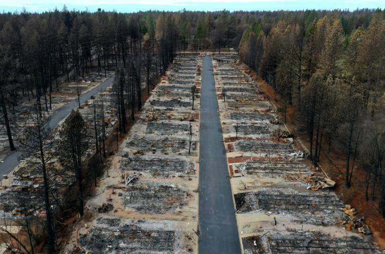 An aerial view of homes destroyed by the Camp Fire in Paradise, California in November 2018