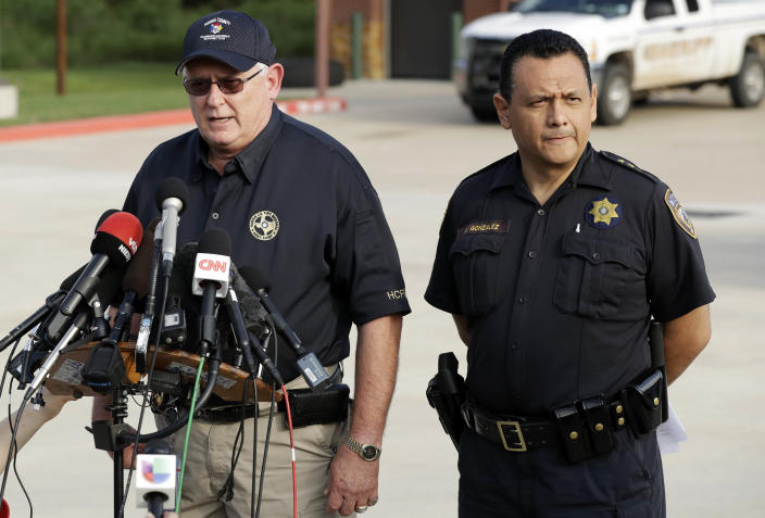 Robert Royall, a Harris County fire marshall speaks alongside Sheriff Ed Gonzalez, right, during a news conference about the Arkema Inc. chemical plant Thursday, Aug. 31, 2017, in Crosby, Texas. / Credit: Gregory Bull / AP