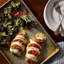 <p>Using the hasselback technique (cutting crosswise slits every half-inch along the chicken breast) cooks the chicken faster and ensures you get a burst of flavorful gooey filling with each bite. This quick one-pan high-protein and veggie-packed dinner is easy to make and the whole family will love it.</p>