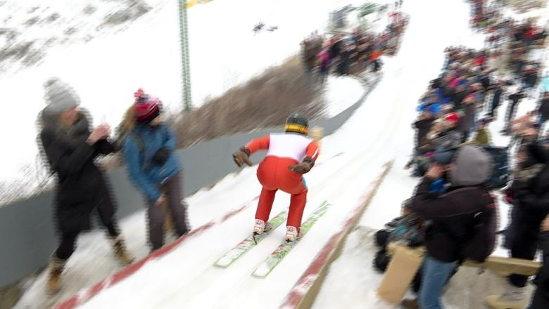 Eddie 'the Eagle' recreates Calgary Olympic glory with first ski jumps in nearly 20 years