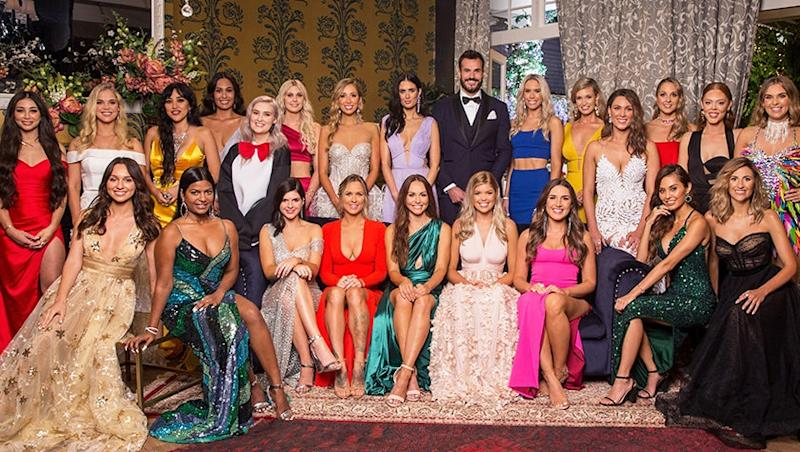 Locky Gilbert and his 23 bachelorettes on The Bachelor Australia 2020. Photo: Channel 10.
