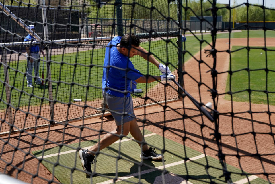 Israel Olympic baseball player Danny Valencia takes batting practice at Salt River Fields spring training facility, Wednesday, May 12, 2021, in Scottsdale, Ariz. Israel has qualified for the six-team baseball tournament at the Tokyo Olympic games which will be its first appearance at the Olympics in any team sport since 1976. (AP Photo/Matt York)
