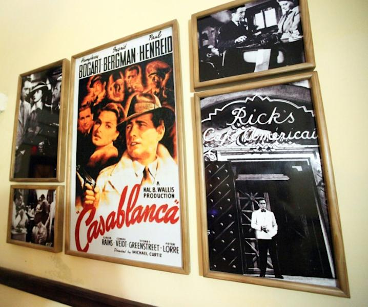 "Posters and pictures from the US movie ""Casablanca"" at a bar of the same name in Camaguey city, east of Havana, Cuba, in 2015"