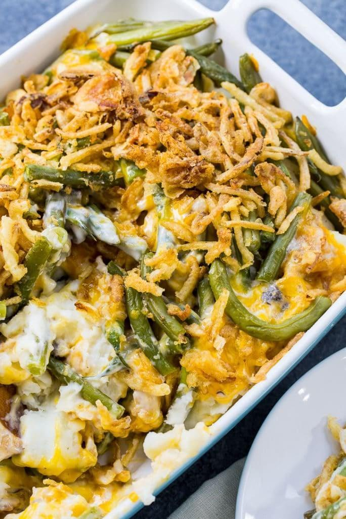 """<p>This recipe is like two dishes in one.</p> <p><b>Get the recipe:</b> <a href=""""https://spicysouthernkitchen.com/mashed-potato-green-bean-casserole-giveaway/"""" class=""""link rapid-noclick-resp"""" rel=""""nofollow noopener"""" target=""""_blank"""" data-ylk=""""slk:mashed potato green bean casserole"""">mashed potato green bean casserole</a></p>"""