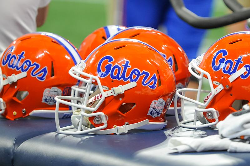 ATLANTA, GA - DECEMBER 29: Florida Gators helmet during the Chick-fil-A Peach Bowl between the Michigan Wolverines and the Florida Gators on December 29, 2018 at Mercedes-Benz Stadium in Atlanta, GA.(Photo by John Adams/Icon Sportswire via Getty Images)